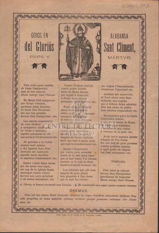 Goigs en alabansa del Gloriós Sant Climent, papa y mártyr