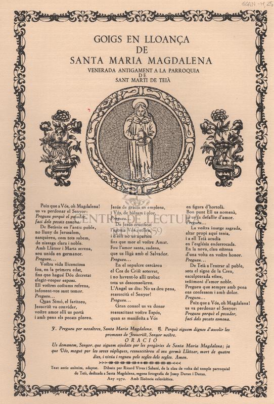 Goigs en lloança de Santa Maria Magdalena venerada antigament a la parroquia de Sant Marti de Teià.