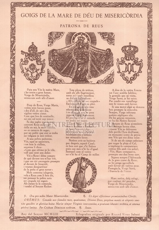 Goigs de la Mare de Déu de Misericòrdia. Patrona de Reus