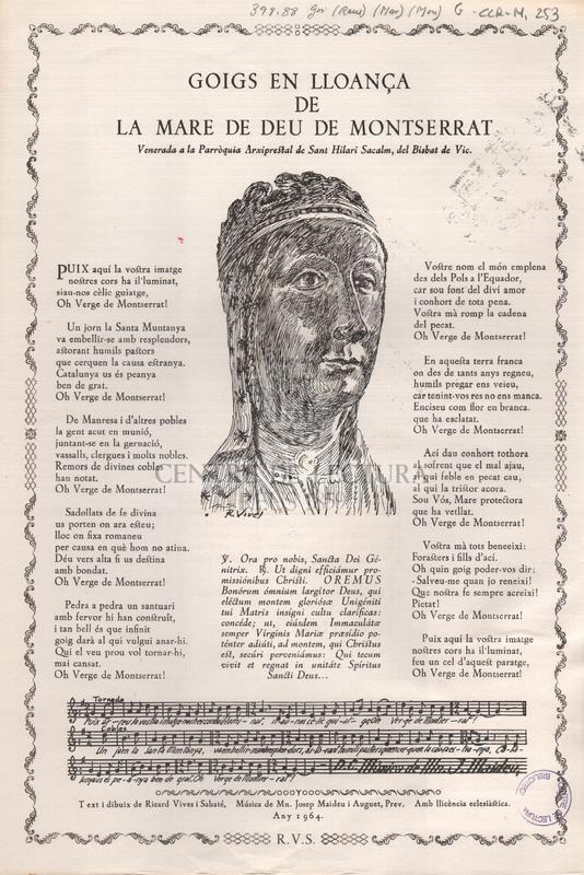 Goigs en lloança de la Mare de Deu de Montserrat venerada a la Parròquia Arxiprestat de Sant Hilari Sacalm, del Bisbat de Vic.