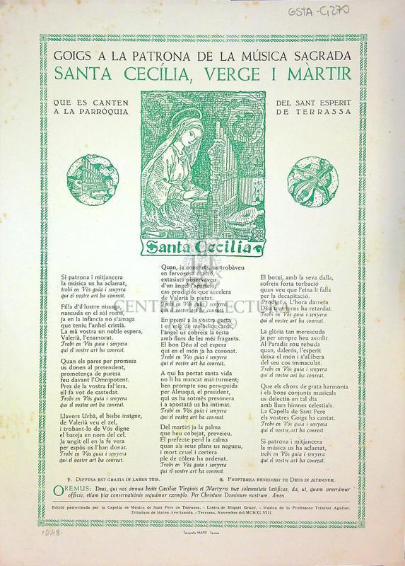 Goigs a la patrona de la música Sagrada Santa Cecília, Verge i Màrtir que es canten a la Parròquia del Sant Esperit de Terrassa