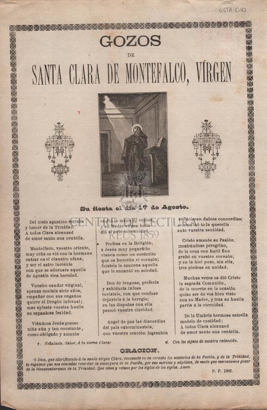 Gozos de Santa Clara de Montefalco, vírgen. Su fiesta el dia 17 de Agosto.