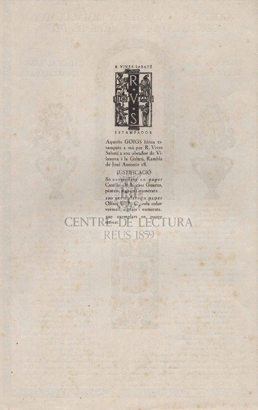 Goigs en llaor de la Immaculada Concepció de la Mare de Déu. Venerada a la Santa Església Catedral Basílica Barcelonina.