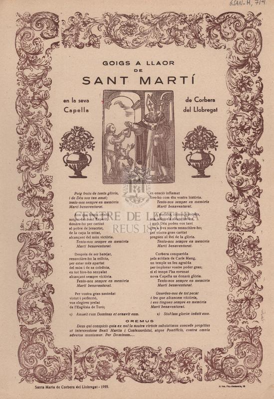 Goigs a llaor de Sant Martí en la seva Capella de Corbera del Llobregat