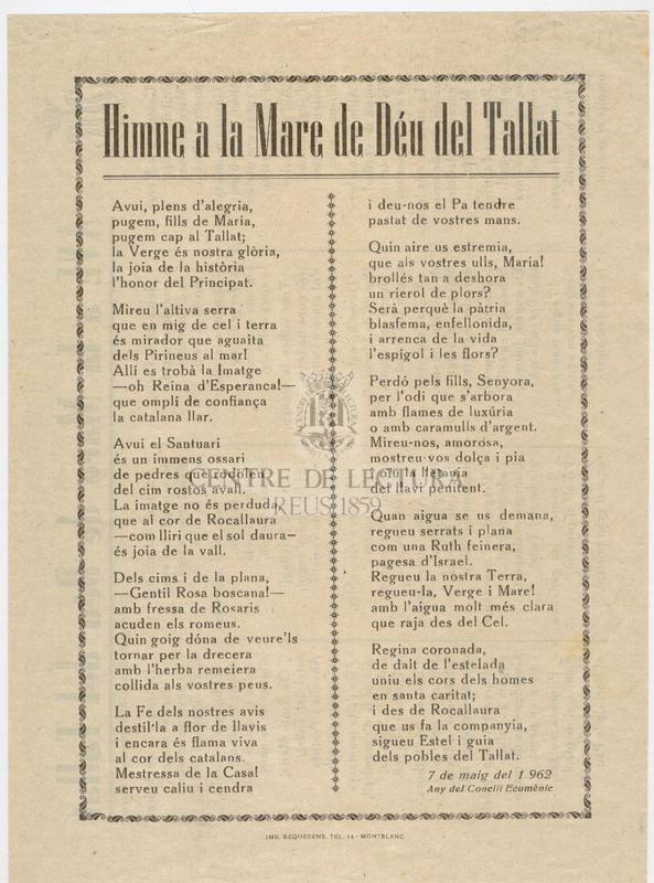 Himne a la Mare de Déu del Tallat