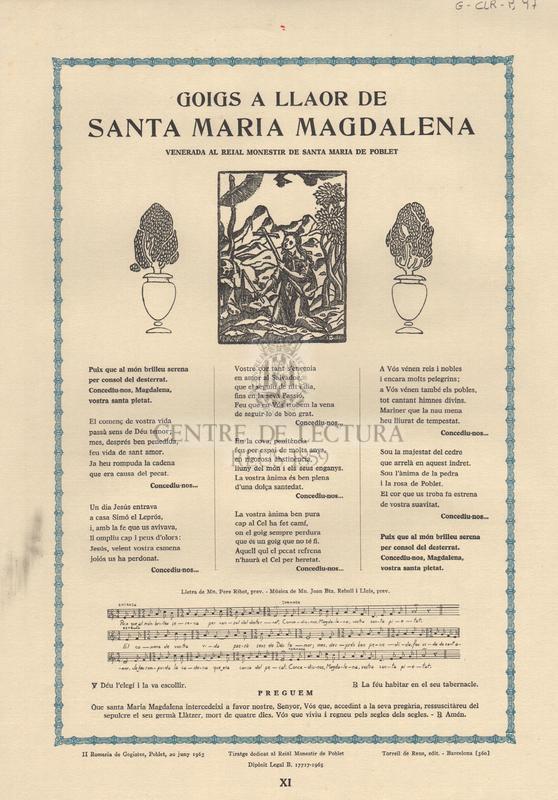 Goigs a llaor de Santa Maria Magdalena venerada al Reial Monestir de Santa Maria de Poblet.
