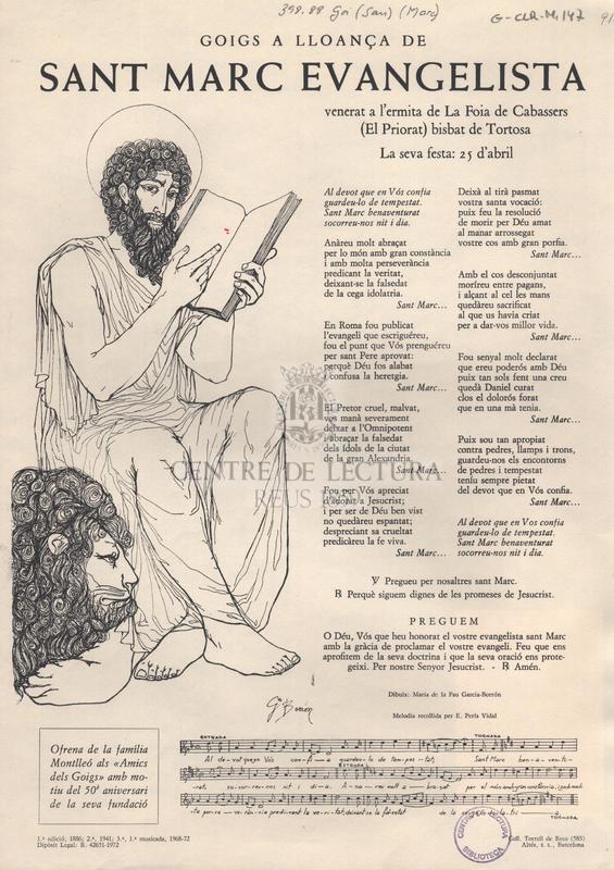 Goigs a lloança de sant Marc Evangelista venerat a l'ermita de La Foia de Cabassers (El Priorat) bisbat de Tortosa.
