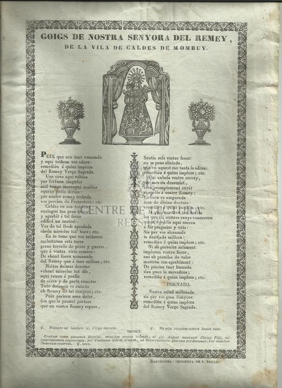 Goigs de Nostra Senyora del Remey, de la vila de Caldes de Mombuy