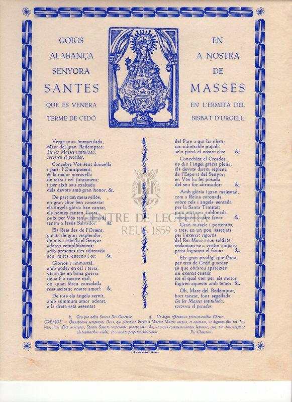 Goigs en alabança a Nostra Senyora de Santes Masses que es venera en l'Ermita del terme de Cedó. Bisbat d'Urgell