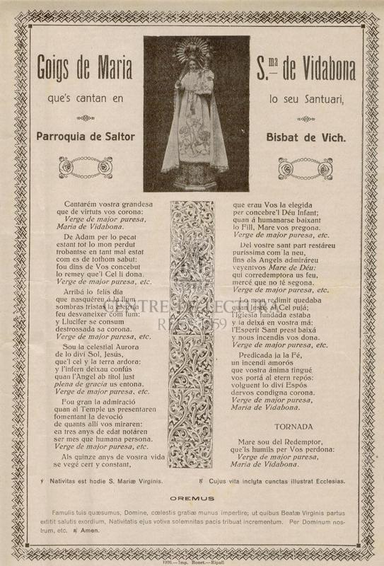 Goigs de Maria Sma. de Vidabona que's cantan en lo seu santuari, Parroquia de Saltor Bisbat de Vich