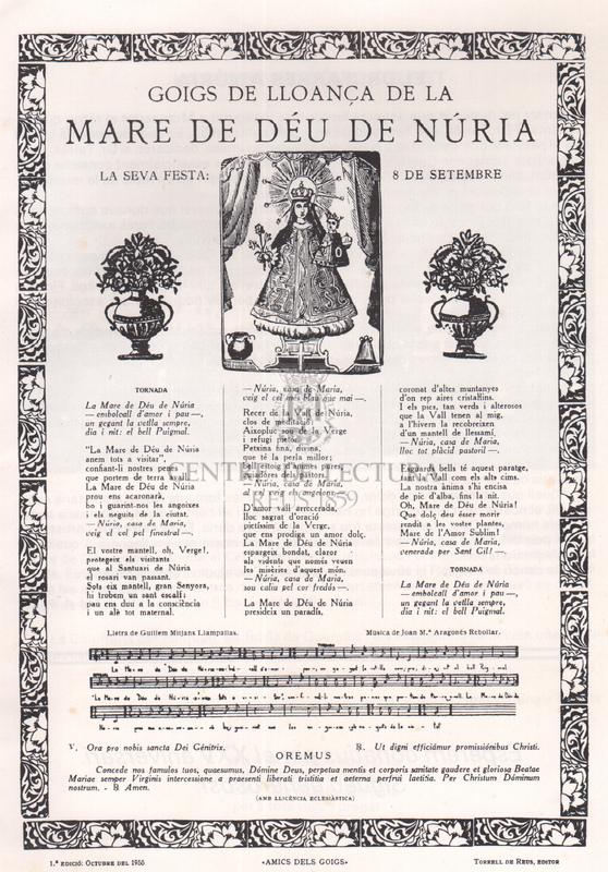 Poesia a la Verge de la Vall de Núria i Goigs de lloança de la Mare de Déu de Núria.