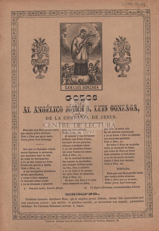 Gozos al angélico jóven S. Luis Gonzaga, de la compañía de Jesus
