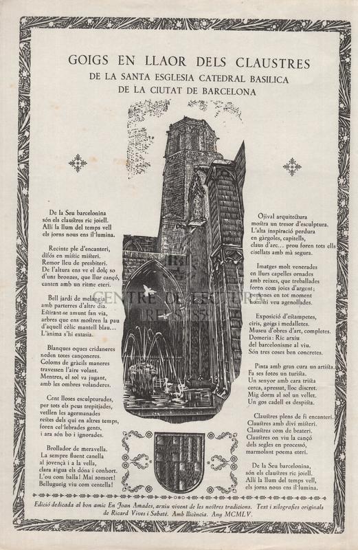 Goigs en llaor dels claustres de la Santa Esglesia Catedral Basilica de la ciutat de Barcelona