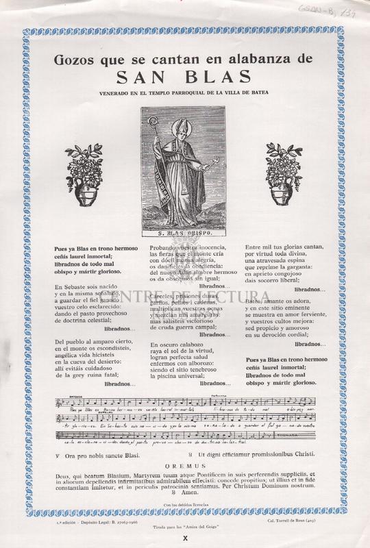 Gozos que se cantan en alabanza de San Blas venerado en el templo parroquial de la Villa de Batea.