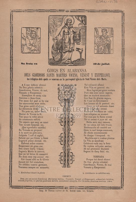 Goigs en alabansa dels gloriosos Sants Martirs Vicens, Venust i Exuperanci, las reliquias dels quals se veneran en la parroquial iglesia de Sant Vicents dels Horts