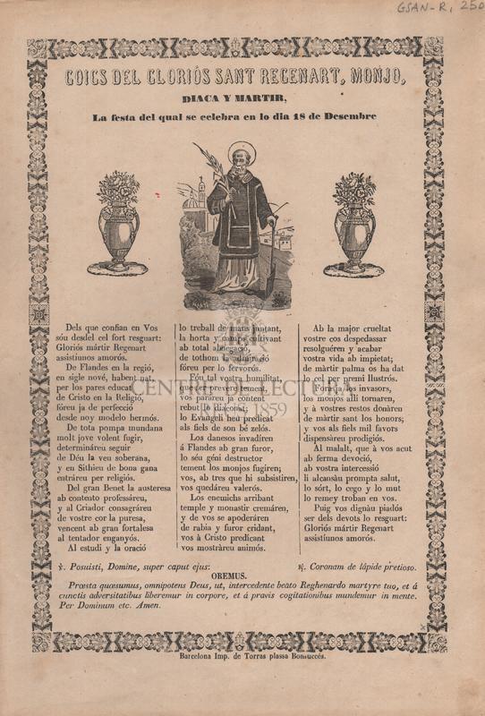 Goigs del gloriós Sant Recenart, Monjo, Diaca y Martir. La festa del qual se celebra en lo dia 18 de Desembre