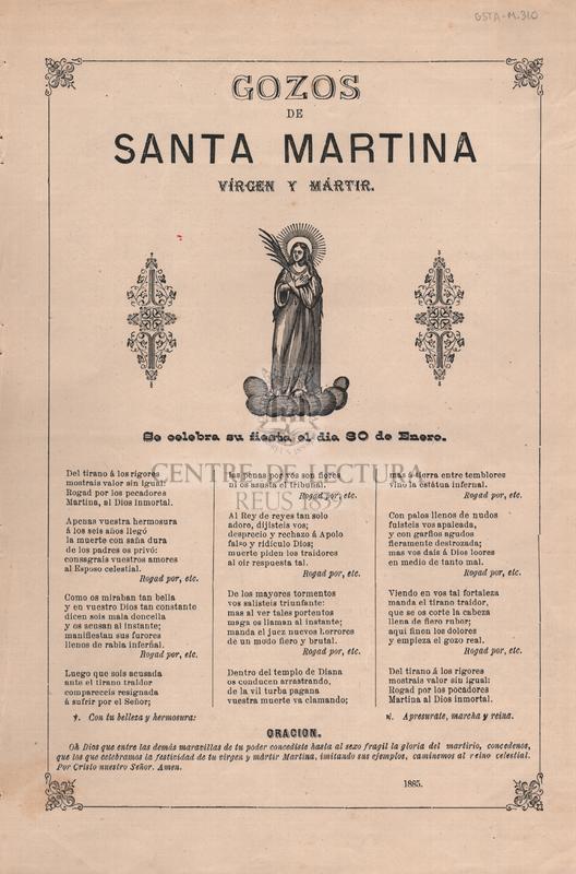 Gozos de Santa Martina vírgen y mártir. Se celebra su fiesta el dia 30 de Enero.