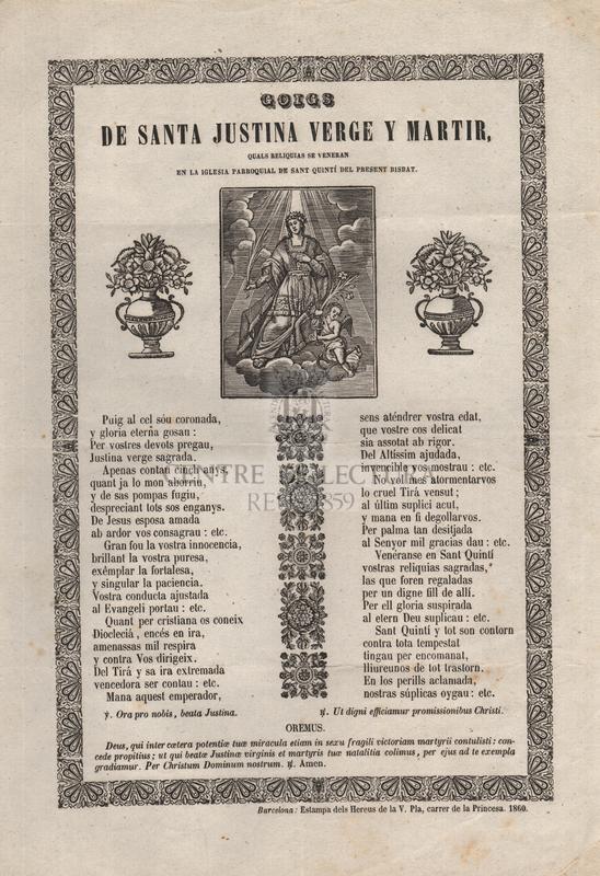 Goigs de santa Justina verge y martir, quals reliquias se veneran en la iglesia parroquial de sant Quintí del present bisbat