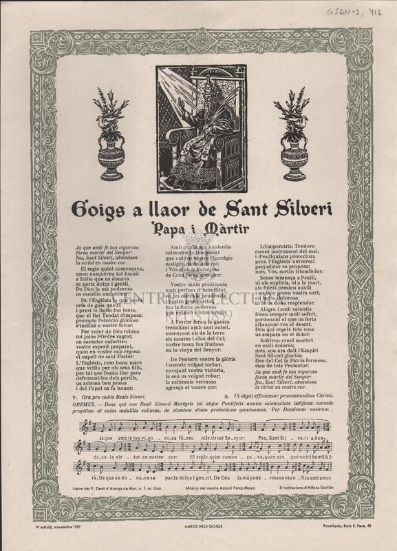 Goigs a llaor de Sant Silveri papa i màrtir