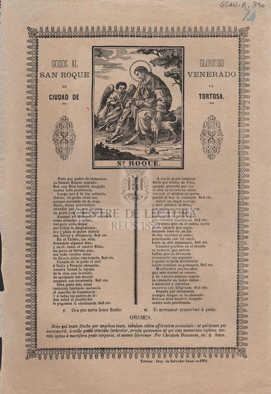 Gozos al glorioso San Roque venerado en la ciudad de Tortosa