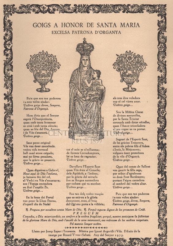 Goigs a Honor de Santa Maria excelsa patrona d'Organya
