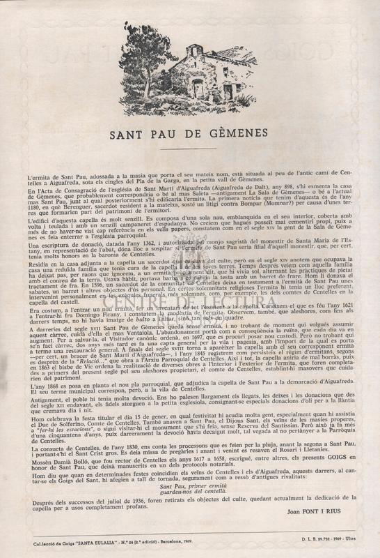 Goigs a llaor de Sant Pau primer ermità venerat a la seva ermita de la Vall de Gèmenes, antigament de la Parròquia de Centelles ara de la d'Aiguafreda, en el Bisbat de Vic.