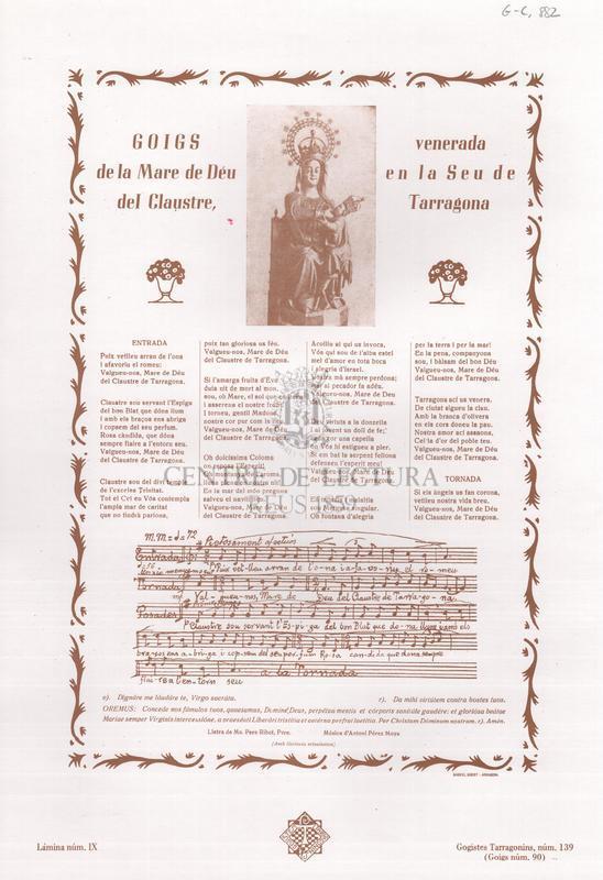 Goigs de la Mare de Déu del Claustre, venerada en la Seu de Tarragona.