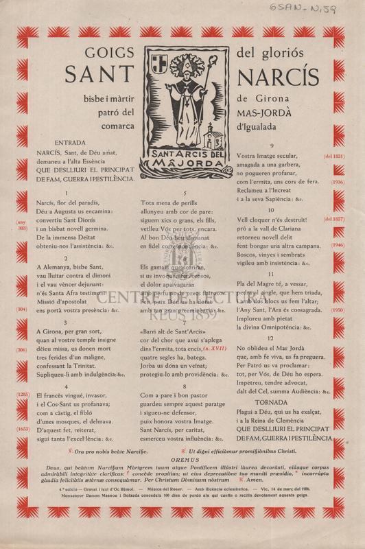 Goigs del gloriós Sant Narcís bisbe i màrtir de Girona, patró del Mas-Jordà comarca d'Igualada