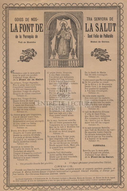Goigs de Nostra Senyora de la Font de la Salut, de la Parroquia de Sant Feliu de Pallaróls, Vall de Hostoles, Bisbat de Gerona
