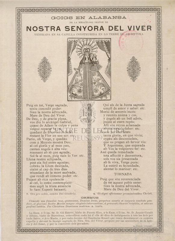 Goigs en alabansa de la miraculosa imatges de Nostra Senyora del Viver venerada en sa Capella construhida en lo terme de Argentona