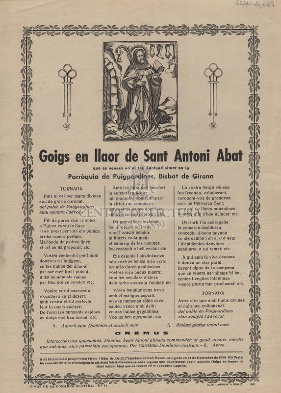 Goigs en llaor de Sant Antoni Abat que es venera en el seu Santuari situat en la Parròquia de Puigpardines, Bisbat de Girona.