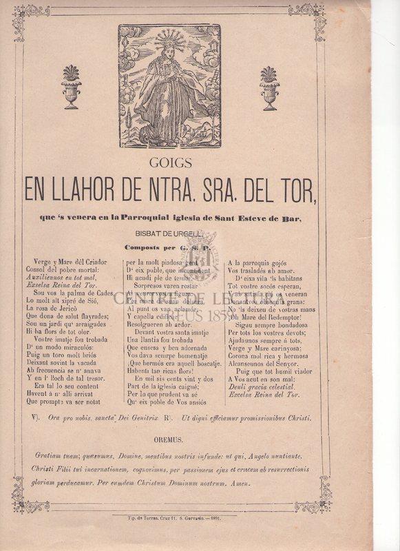 Goigs en llahor de Ntra. Sra. del Tor, que's venera en la Parroquial iglesia de Sant Esteve de Ber. Bisbat de Urgell