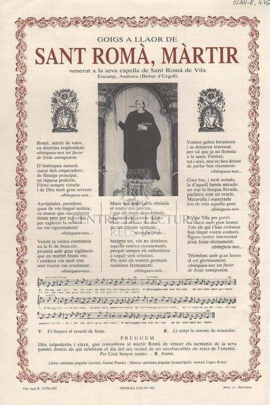 Goigs a llaor de Sant Romà, màrtir venerat a la seva capella de Sant Romà de Vila Encamp, Andorra (Bisbat d'Urgell)