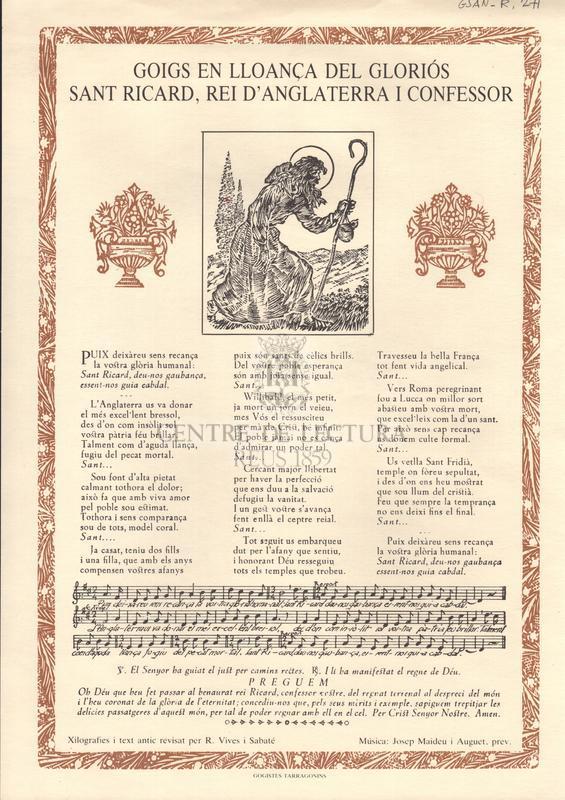Goigs en lloança del gloriós Sant Ricard, Rei d'Anglaterra i confessor