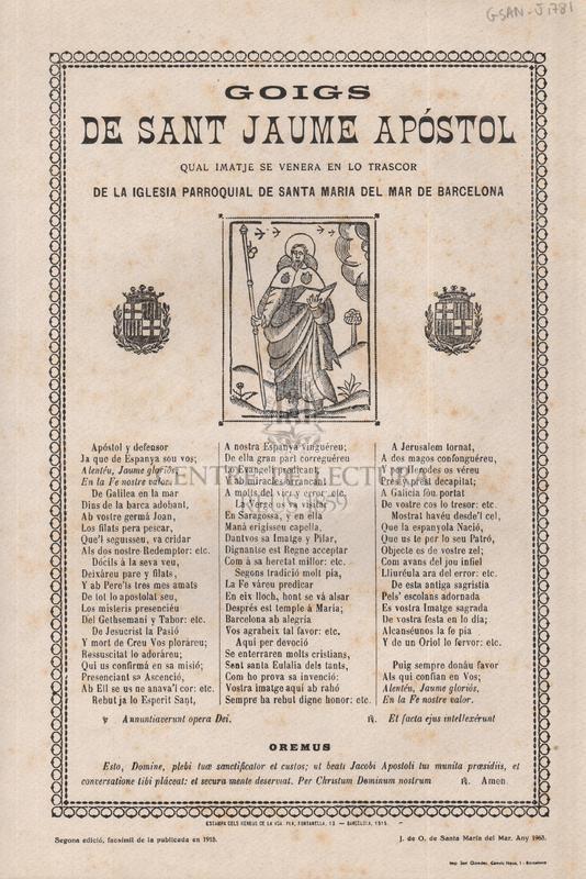 Goigs de sant Jaume apóstol qual imatje se venera en lo trascor de la iglesia parroquial de sant Maria del Mar de Barcelona