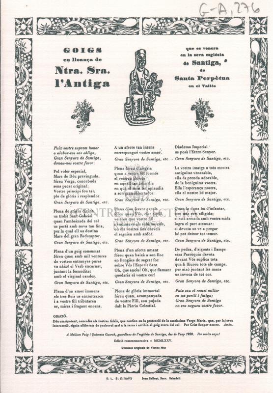 Goigs en lloança de Ntra. Sra. l'Antiga que es venera en la seva església de Santiga, de Santa Perpètua en el Vallès