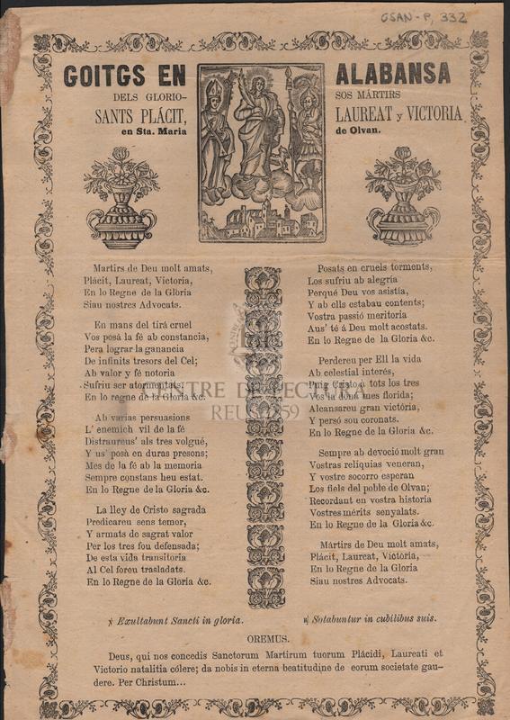 Goitgs en alabansa dels gloriosos mártirs Sants Plácit, Laureat y Victoria en Sta. Maria de Olvan