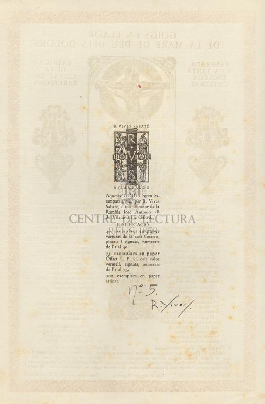 Goigs en llaor de la Mare de Déu dels Dolors venerada a la Santa Església Catedral Basílica de la ciutat de Barcelona