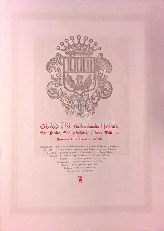 Gozos a los Bienaventurasdos Mártires San Pedro, San Cristóbal y San Valentín, patronos de la Ciudad de terrassa