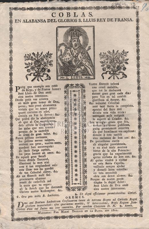 Coblas en alabansa del glorios S. Lluis Rey de Fransa