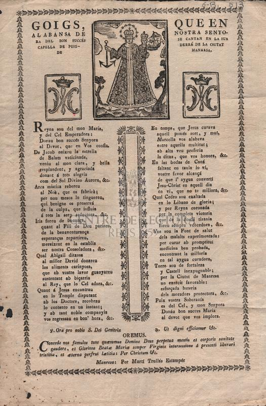 Goigs, que en alabansa de Nostra Senyora del Bon Succés se cantan en la sua capella de Puigderrá de la ciutat de Manresa