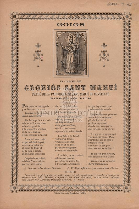 Goigs en alabansa del gloriós Sant Martí patró de la parroquia de Sant Martí de Centellas Bisbat de Vic