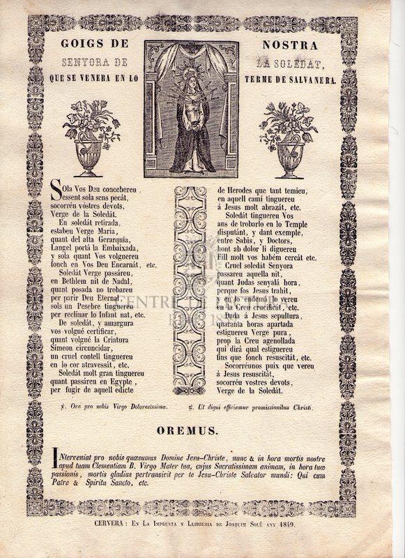 Goigs de Nostra Senyora de la Soledat, que se venera en lo terme de Salvanera