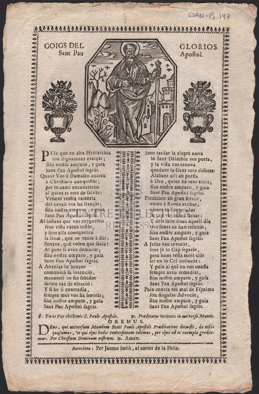 Goigs del glorios Sant Pau Apostol