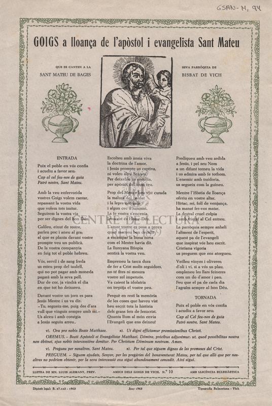 GOIGS a lloança de l'apòstol i evangelista Sant Mateu que es canten a la seva parròquia de Sant Mateu de Bages Bisbat de vich