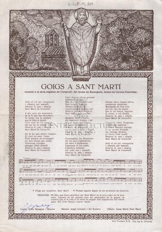 Goigs a Sant Martí venerat a la seva església de Corsavell, del terme de Bassegoda, bisbat de Girona (Garrotxa)