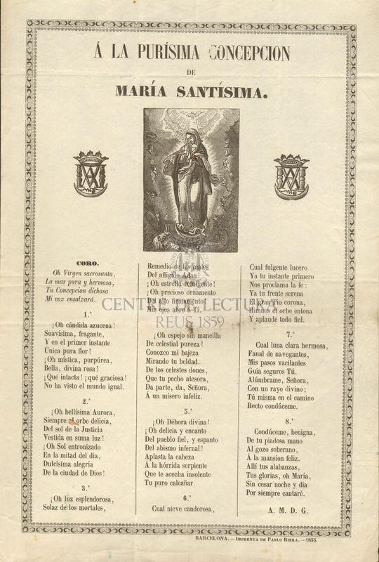 A la Purísima Concepción de María Santísima