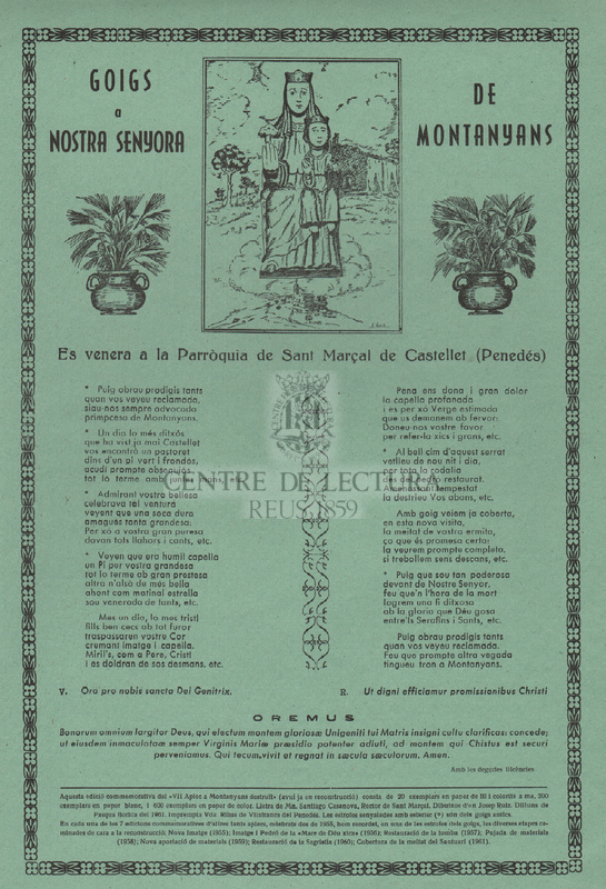 Goigs a Nostra Senyora de Montanyans. Es venera a la Parròquia de Sant Marçal de Castellet (Penedés)