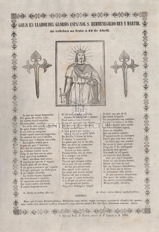 Goigs en llahor del gloriós espanyol S. Hermenegildo rey y mártir. Se celebra su fiesta á 13 de abril