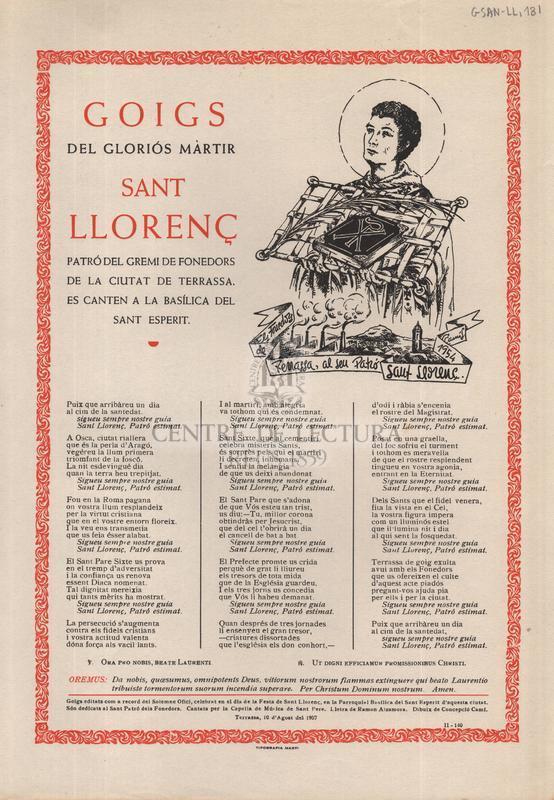 Goigs del Gloriós Màrtir Sant Llorenç, Patró del Gremi de Fonedors de la ciutat de Terrassa, es canten a la Basílica del Sant Esperit